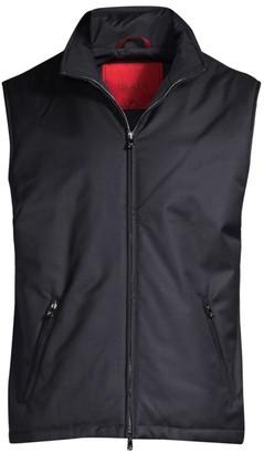 Isaia Tech Wool Zip-Up Down Vest