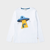 Paul Smith Boys' 7+ Years White Interactive Spaceship Print 'Mint' Top