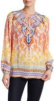Hale Bob Long Sleeve Print Silk Tunic