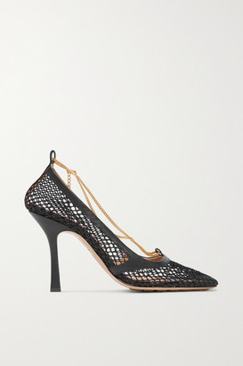 Bottega Veneta Embellished Leather-trimmed Mesh Pumps - Black