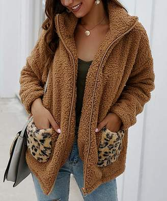 Sucrefas Women's Non-Denim Casual Jackets Camel - Camel Leopard-Pocket Fuzzy Jacket - Women