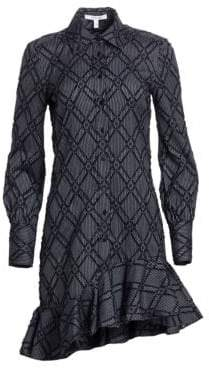 Derek Lam 10 Crosby Women's Ruffled Long Sleeve Shirt Dress - Midnight - Size 2
