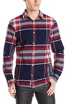 Original Penguin Men's Long Plaid Flannel Long Sleeve Shirt