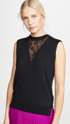 Adam Lippes Merino Wool Shell with Lace Trim