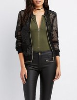 Charlotte Russe Embroidered Mesh Bomber Jacket