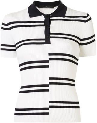 Rokh contrast striped polo T-shirt