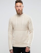 Asos Lambswool Rich Cable Sweater with High Neck in Oatmeal