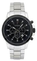 Citizen Silver & Black Dial Bracelet Watch - Men