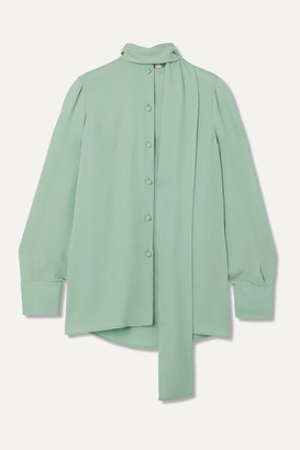 Valentino Pussy-bow Silk Blouse - Green