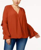 INC International Concepts Anna Sui Loves Plus Size Ruffled-Sleeve Blouse, Created for Macy's