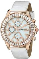 August Steiner Women's AS8037RGW Baguette Crystal Accented Rose Gold & Mother-of-Pearl Multifunction White Leather Strap Watch
