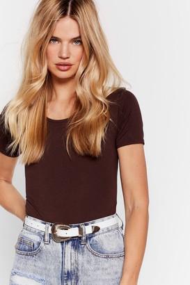Nasty Gal Womens Cover Your Basics Tee Bodysuit - Chocolate