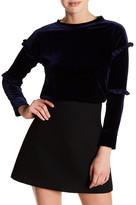 Cotton Emporium Velvet Ruffle Pullover Sweater