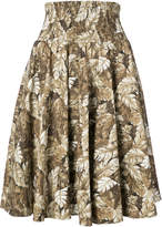 Julien David leaf print skirt