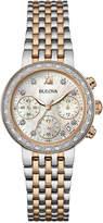 Bulova Women's Chronograph Maiden Lane Diamond Accent Two-Tone Stainless Steel Bracelet Watch 30mm 98R215