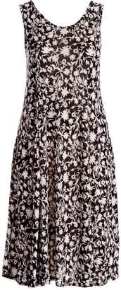 Peek A Boom Peek-a-BOOM Women's Casual Dresses BLACK/WHITE - Black & White Floral Sleeveless Dress - Plus