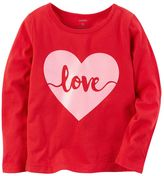 "Carter's Baby Girl Love"" Glitter Heart Graphic Tee"