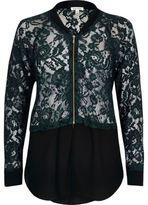 River Island Womens Green lace woven hem bomber jacket