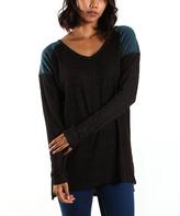 La Femme Teal & Black Contrast-Yoke V-Neck Tunic