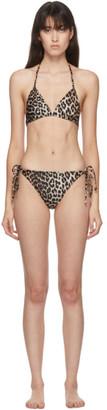 Ganni Beige Leopard Print Bikini