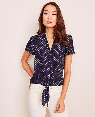 Ann Taylor Dot Notched Collar Tie Front Top