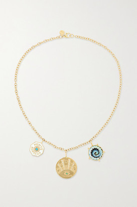 Marlo Laz Coin 14-karat Gold Multi-stone Necklace