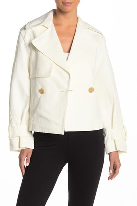 Vince Notch Lapel Belted Linen Blend Twill Jacket
