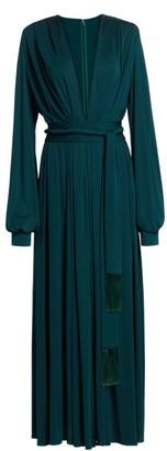 Oscar de la Renta Deep V-Neck Long-Sleeve Gown