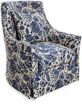 Massoud Furniture Alcott Swivel Chair, Indigo Floral
