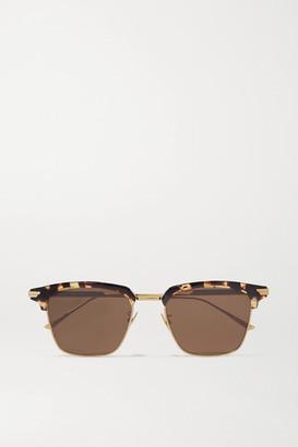 Bottega Veneta Light Ribbon Square-frame Gold-tone And Tortoiseshell Acetate Sunglasses