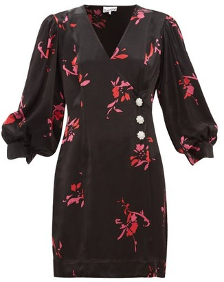 Ganni Crystal-embellished Floral-print Satin Wrap Dress - Black Multi