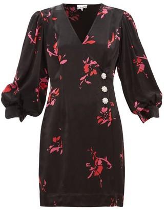 Ganni Crystal-embellished Floral-print Satin Wrap Dress - Black Multi