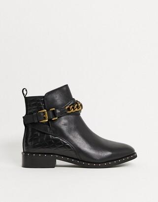 Kurt Geiger Jodhpur eagle chain flat ankle boots in black