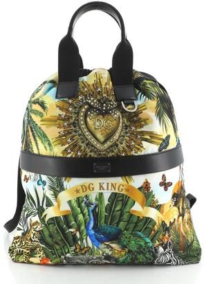 Dolce & Gabbana Drawstring Backpack Printed Nylon Medium