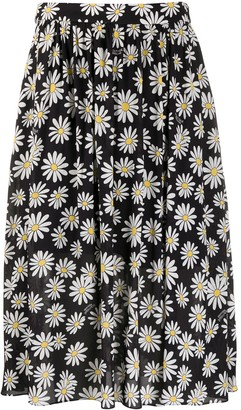 Boutique Moschino Daisy-Print Midi Skirt