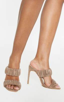 PrettyLittleThing Sand Ruched Elastic Twin Strap Mule Sandal