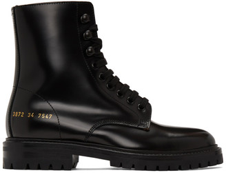 Common Projects Black Lug Sole Combat Boots