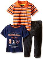 U.S. Polo Assn. Baby Boys' Striped Shirt, Graphic T-Shirt and Denim Jean Set