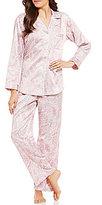 Miss Elaine Brushed Back Satin Paisley Printed Pajamas