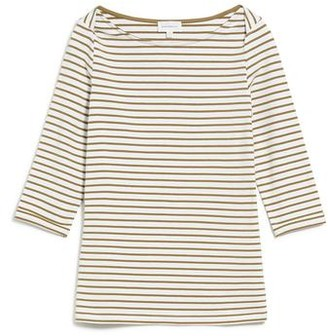 Armedangels Organic Cotton Dalenaa Stripes In Off White Golden Khaki Top - XS
