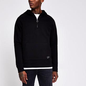 River Island Prolific black half zip slim fit hoodie