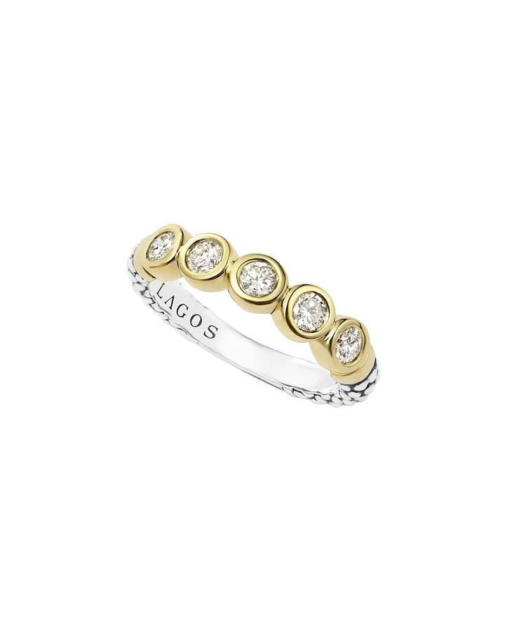 Lagos 18k Gold/Silver Caviar 5-Diamond Stacking Ring, Size 7