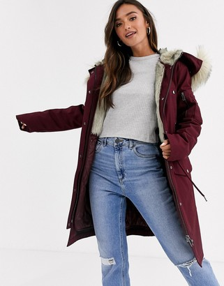 Asos Design DESIGN parka with detachable faux fur liner in oxblood-Purple