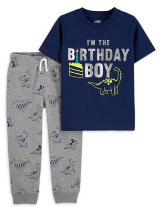 Child of Mine by Carter's Baby Toddler Boy Birthday Short Sleeve T-shirt & Pants, 2pc Outfit Set