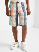 Plaid flat front shorts