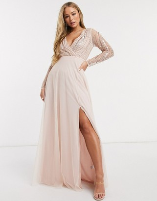 Frock and Frill deep v-neck embellished long sleeve maxi dress in pink