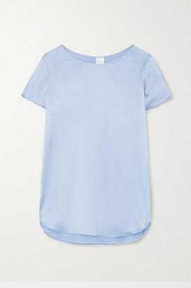 Max Mara Leisure Cortona Silk-blend Satin T-shirt - Light blue