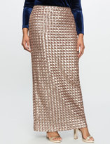 ELOQUII Plus Size Checkered Sequin Maxi Skirt