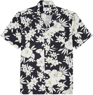 NN07 Paris Black Floral-print Tencel-blend Shirt