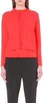 Armani Collezioni Frayed-edge cropped cashmere cardigan